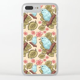 Vintage brown pink teal cute birds botanical floral Clear iPhone Case