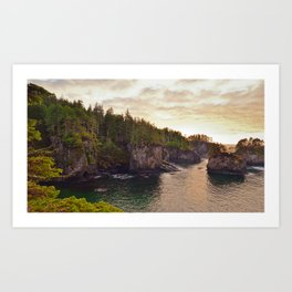Sunset at Cape Flattery, Washington, Olympic Peninsula, Monolith, Pacific Ocean, Islands Art Print