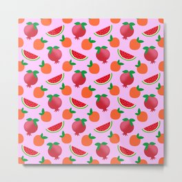 Cute funny sweet red pomegranate, little oranges and ripe summer tropical watermelons fantasy fruity whimsical bright light pastel pink pattern design Metal Print