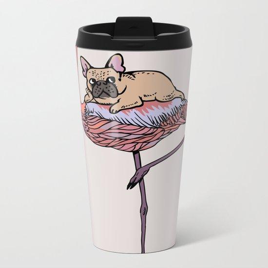 Flamingo and French Bulldog Metal Travel Mug