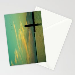 Fading Blue Twilight Lake Michigan Lighthouse Muskegon Beach Stationery Cards