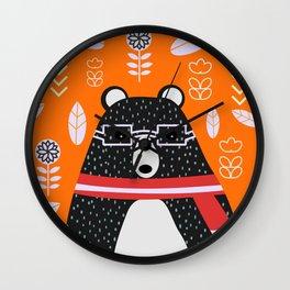 Bear in floral rain Wall Clock