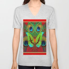 BEAUTIFUL GREEN BUTTERFLY & PEACOCK FEATHERS RED ART Unisex V-Neck