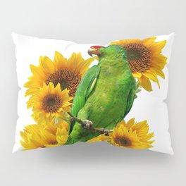 GREEN PARROT  & YELLOW SUNFLOWERS WHITE ART Pillow Sham