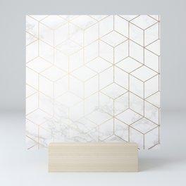 Gold Geometric White Mable Cubes Mini Art Print