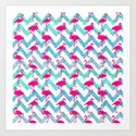 Go Flamingo! Tropical Pink Neon Flamingos Teal Glitter Chevron by girlytrend