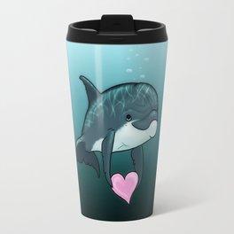 """Love Ya"" by Amber Marine ~ Toon Baby Dolphin Art, (Copyright 2014) Travel Mug"