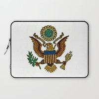 patriotic Laptop Sleeves featuring Patriotic Eagle by manderjack