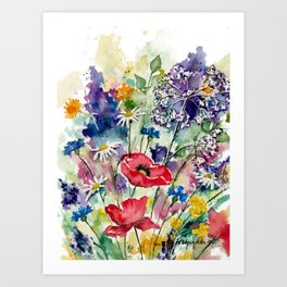 Spring Flowers Watercolour Art Print