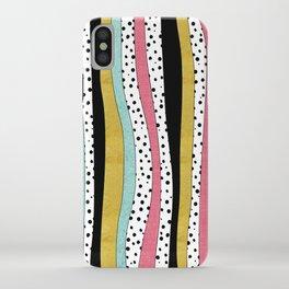 Polka Pink Blue Gold Wavy Stripes iPhone Case