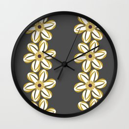 BELLIS floral daisy chain ochre yellow dark taupe background Wall Clock