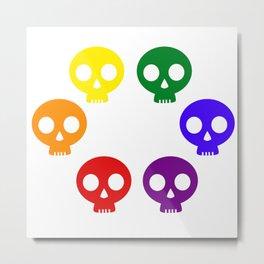 Rainbow Skulls Metal Print