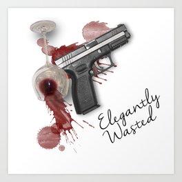 Elegantly Wasted: Gun & Spilled Wine Art Print