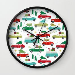 Christmas holiday vintage cars classic festive christmas tree snowflakes winter season Wall Clock