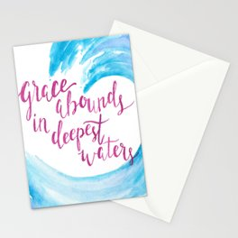 Grace abounds wave watercolor Stationery Cards