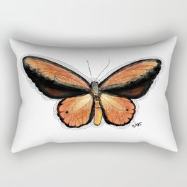Golden Birdwing Butterfly Vintage Butterfly on White_watercolor collection Rectangular Pillow