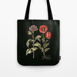 Carnation & Poppy on Charcoal Tote Bag