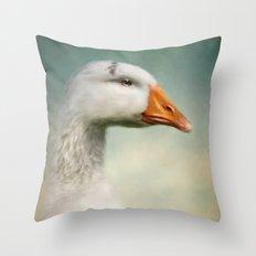 Goose with Tiara Throw Pillow