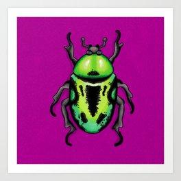 Green Fiddler Beetle Art Print