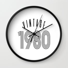 1980 40th Birthday Gift Vintage Black Wall Clock