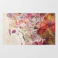 san diego Area & Throw Rugs featuring San Diego by MapMapMaps.Watercolors