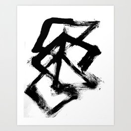 Brushstroke 5 - a simple black and white ink design Art Print