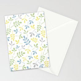 Assorted Leaf Silhouettes Blue Green Grey Yellow White Ptn Stationery Cards