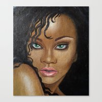rihanna Canvas Prints featuring Rihanna by Lauri Loewenberg