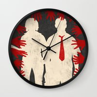 shaun of the dead Wall Clocks featuring Shaun Of The Dead by Bill Pyle