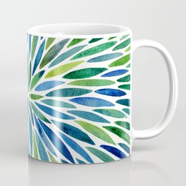 Watercolor Burst – Blue & Green Coffee Mug
