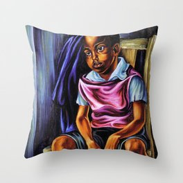 """African American Classical Masterpiece """"Negro Boy, 1938"""" by Hale Woodruff Throw Pillow"""