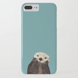 Cute Sea Otter on Teal Solid. Minimalist. Costal. Adorable. iPhone Case
