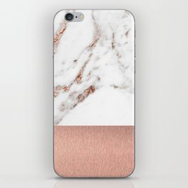 Rose gold marble and foil iPhone Skin