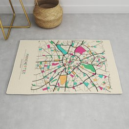 Colorful City Maps: Manchester, England Rug