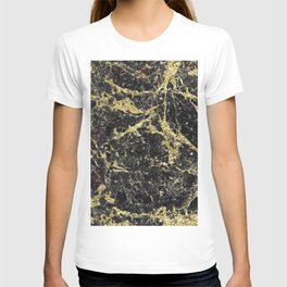 Marble - Glittery Gold Marble on Black Design T-shirt