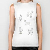 alpaca Biker Tanks featuring Alpaca by okayleigh