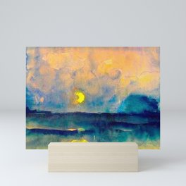 Yellow Moon (Over the Sea) landscape painting by Emil Nolde Mini Art Print