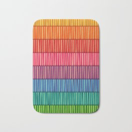 Abstract Colorful Decorative 3D Striped Pattern Bath Mat