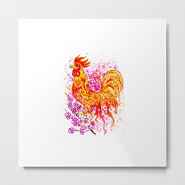Watercolor rooster with sakura Metal Print