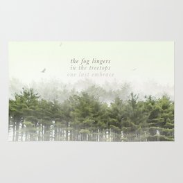 the fog lingers / in the treetops / one last embrace: Haikushion Rug