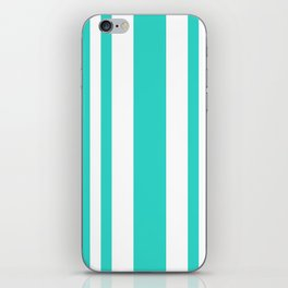 Mixed Vertical Stripes - White and Turquoise iPhone Skin