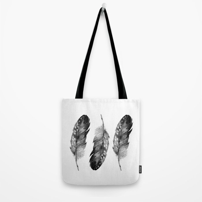 Three Feathers Black And White II Tote Bag