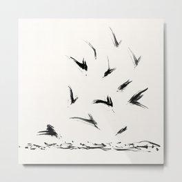 Field Crows | Minimal Ink Brush Abstract Metal Print