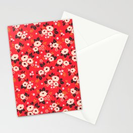 05 Ditsy floral pattern. Red background. White and pink flowers. Stationery Cards