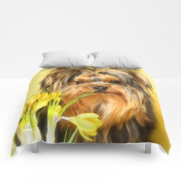 Spring Yellow Crocuses With Yorkie Puppy #decor #society6 Comforters