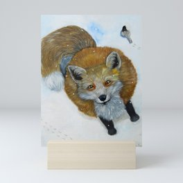 Fox and Chickadee Mini Art Print