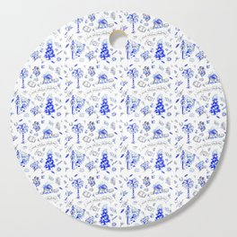 South Carolina Christmas Toile Blue-White pattern Cutting Board
