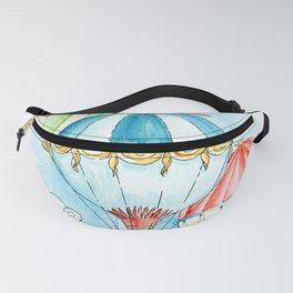Hot air balloon watercolor art print. Fanny Pack