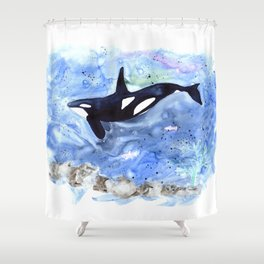 Loose Orca watercolor painting Shower Curtain