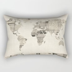 Map of the World Map from Old Postcards Rectangular Pillow